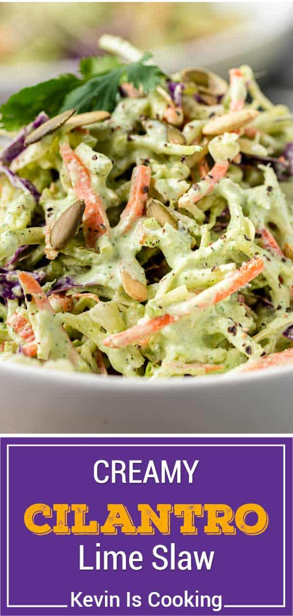 titled image shows closeup of spicy fish taco coleslaw in white serving bowl
