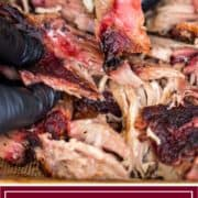 BBQ smoked pulled pork in black gloved hands