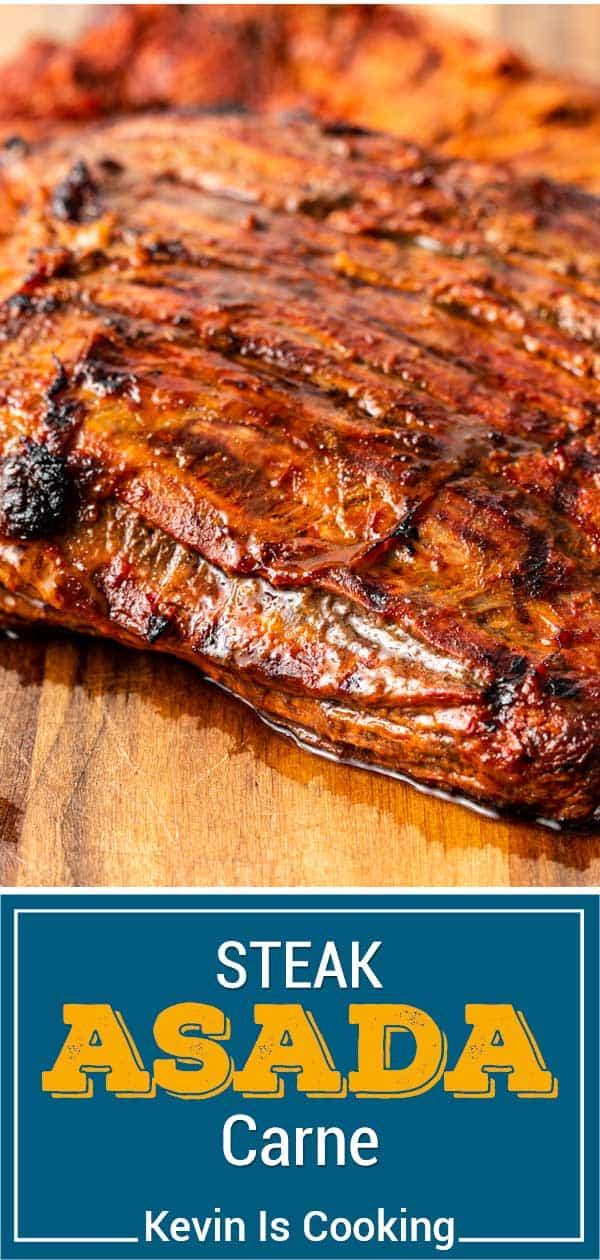 titled image for Pinterest shows closeup of grilled carne asada