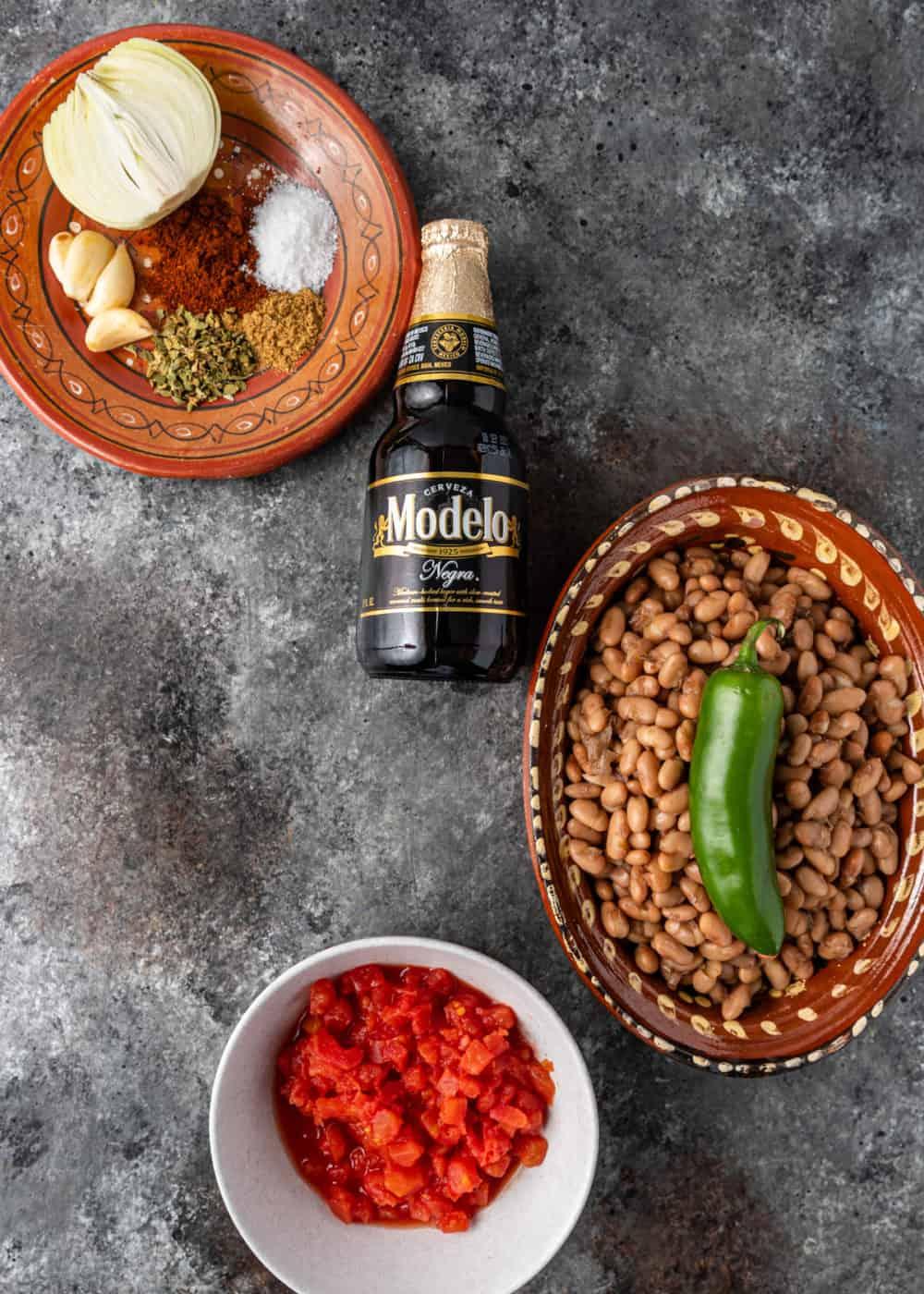 overhead: ingredients for frijoles borrachos
