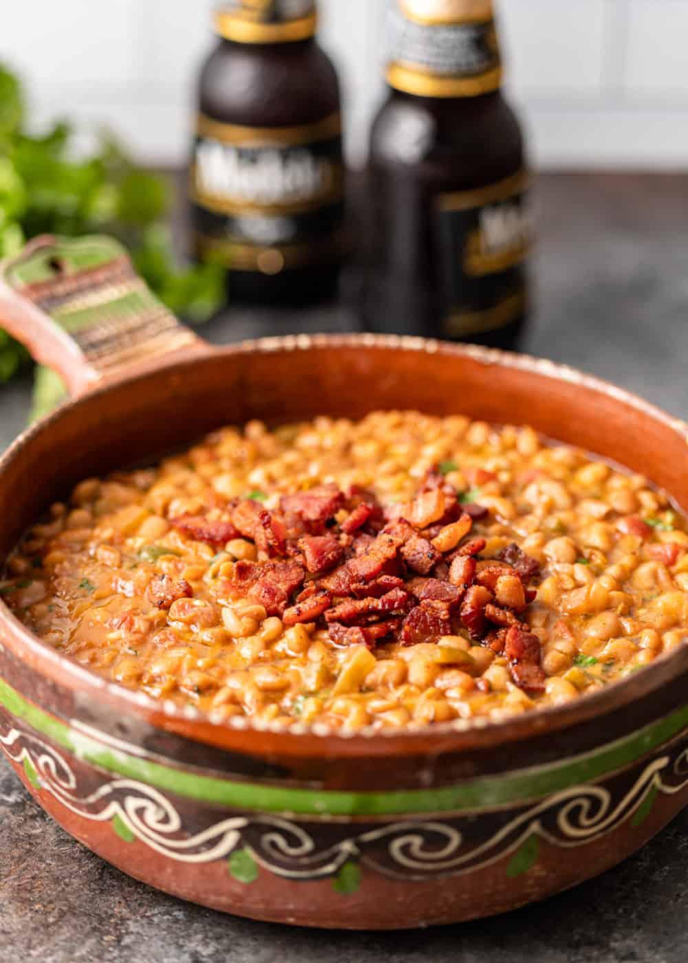crock of drunken beans (Mexican pinto beans)