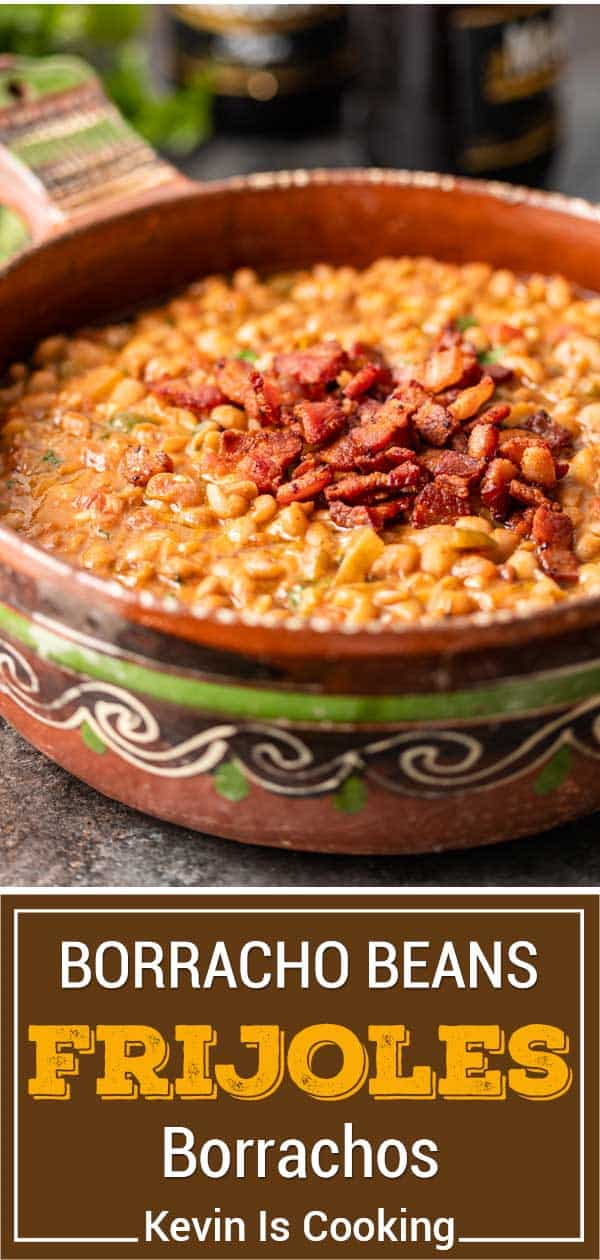 titled image for Pinterest shows Mexican side dish of borracho beans