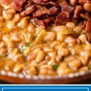 titled image for Pinterest shows close up image of frijoles borrachos