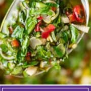 titled image for Pinterest shows closeup of chimichurri sauce on spoon