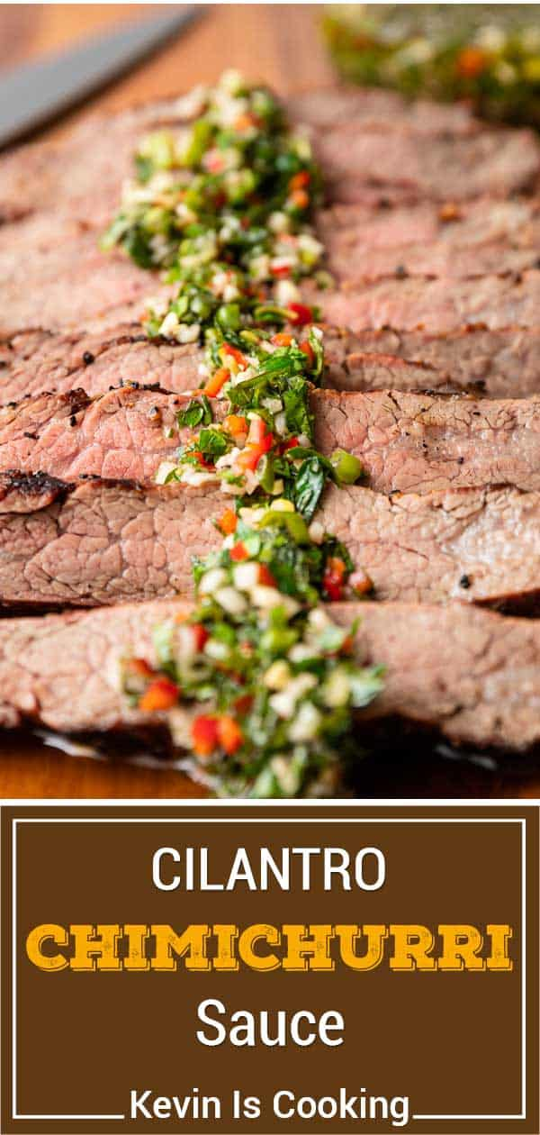 titled image shows cilantro sauce for steak on top of grilled ribeye