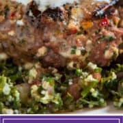 titled Pinterest image (and shown close up): Grilled Lamb Burger with Feta