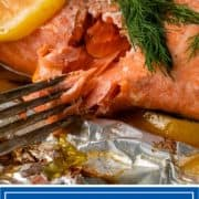 titled image for Pinterest: How to Grill Salmon in Foil (image of grilled salmon)