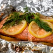 close up showing how to grill salmon in foil