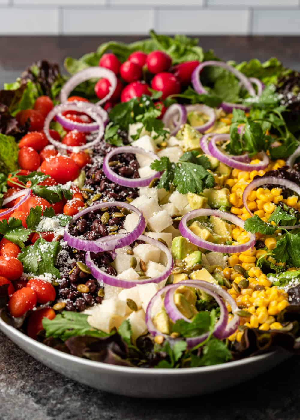 beautiful Mexican salad presented in large white serving bowl