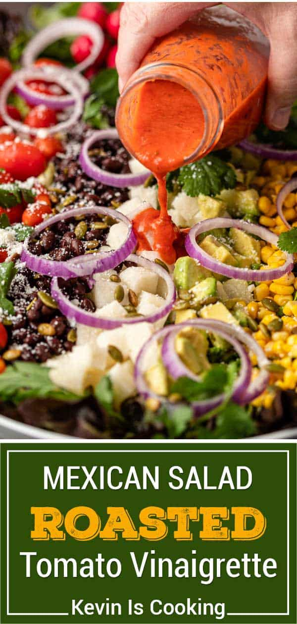titled image for Pinterest (and shown): Mexican Salad with Tomato Vinaigrette