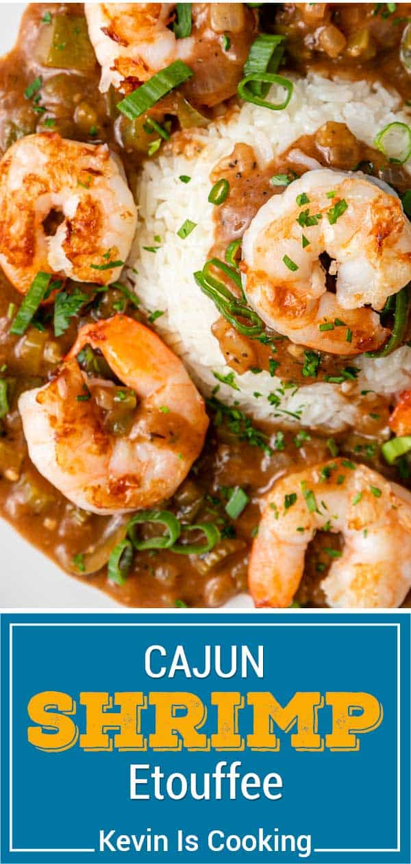 titled image (and shown on bed of white rice): Cajun Shrimp Etouffee
