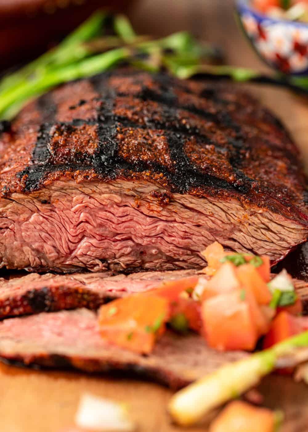 close up image of bavette steak cooked to medium-rare