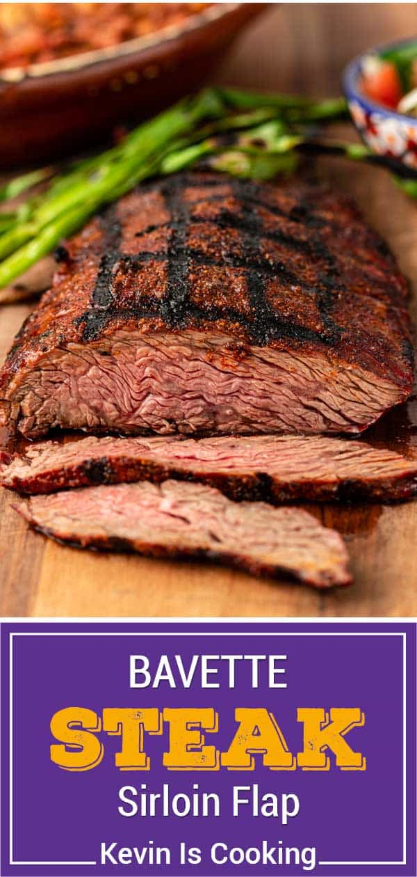 titled Pinterest image shows grilled sirloin flap