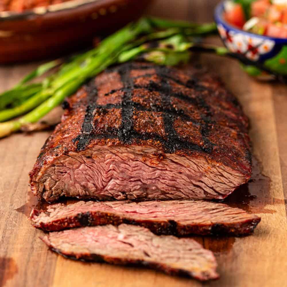 thin slices of bavette steak cut from full sirloin