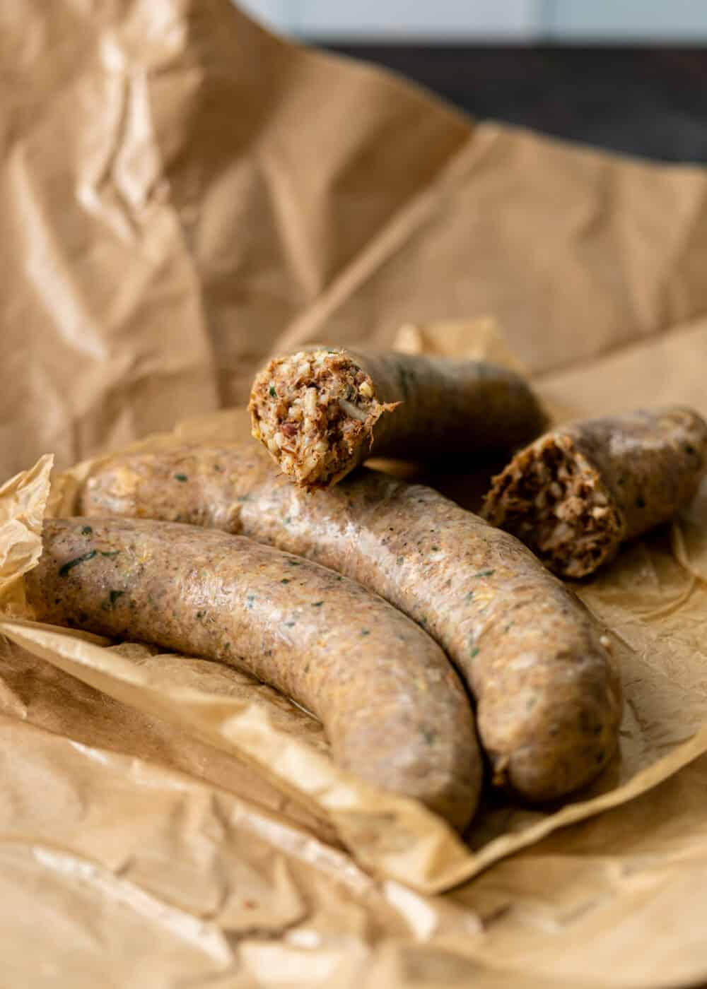 boudin sausage links on butcher paper