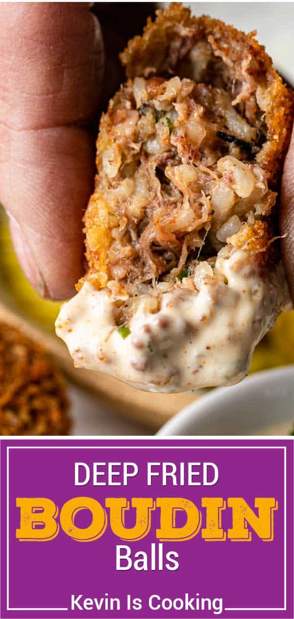 titled image for Pinterest shows fried boudin ball dipped in Cajun remoulade sauce