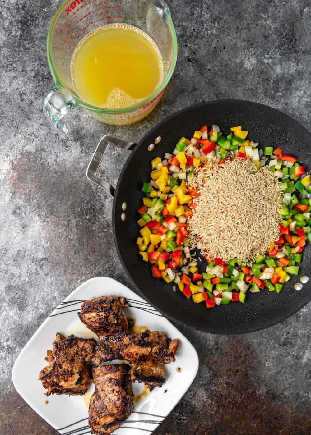 overhead: ingredients to make jerk seasoning and jerk chicken recipe on counter