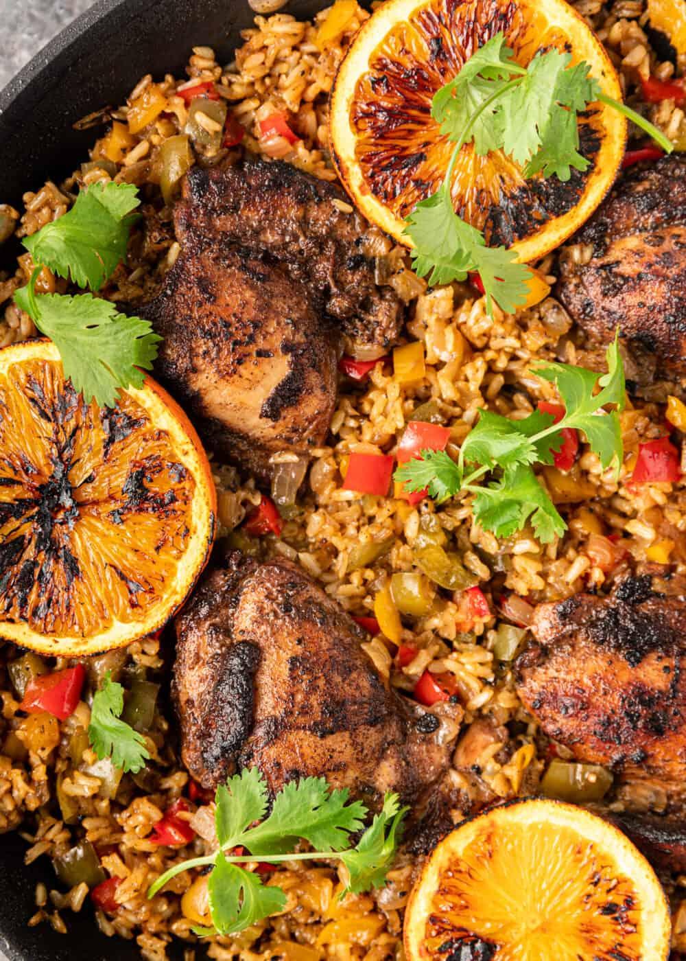 Jamaican jerk chicken recipe shown close up