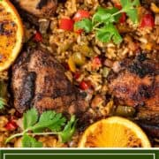 titled image shows close up of Jamaican jerk chicken and rice