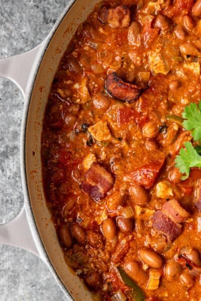 overhead image: large pot of cowboy beans