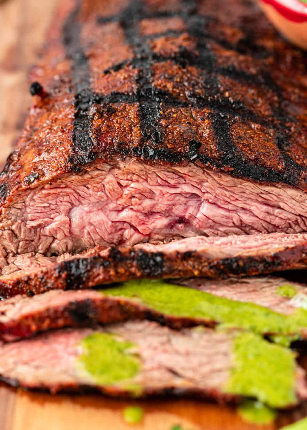 close up image of flap steak with perfect grill hatch marks