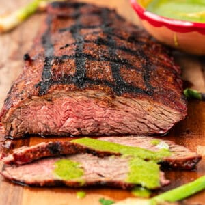 close up of flap steak cut into thin slices
