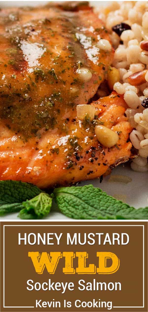 titled image shows closeup of pink fish filet brushed with honey mustard glaze
