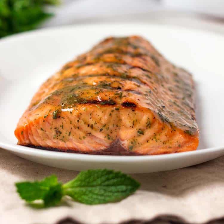 close up image of baked wild sockeye salmon