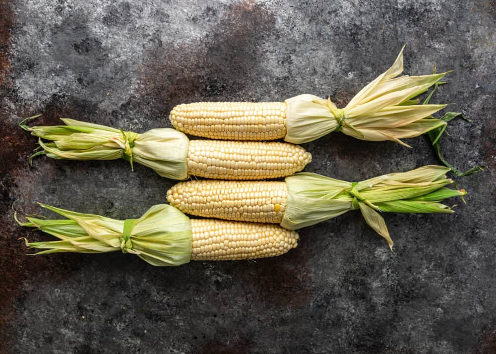 overhead image: 4 ears of corn on the cob side by side with husks pulled back for street corn recipe