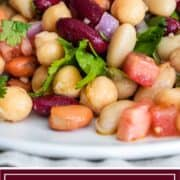 titled image for Pinterest (and shown plated): Zesty 4 Bean Salad