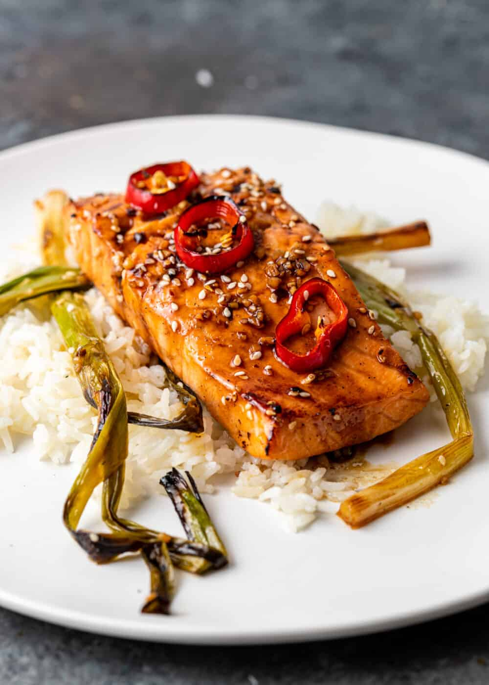 plated: healthy salmon dinner on bed of white rice with scallions and chili peppers