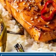 titled image shows honey glazed salmon filet on bed of white rice