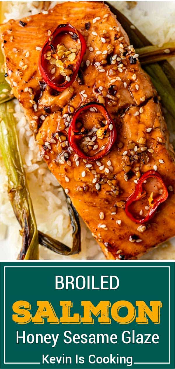 titled image shows broiled salmon filet with honey sesame glaze