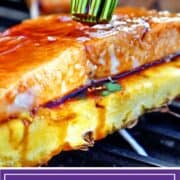 titled image for Pinterest shows pineapple salmon being basted with teriyaki sauce