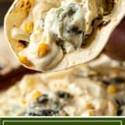 titled image for Pinterest shows corn tortilla filled with Mexican rajas poblanas