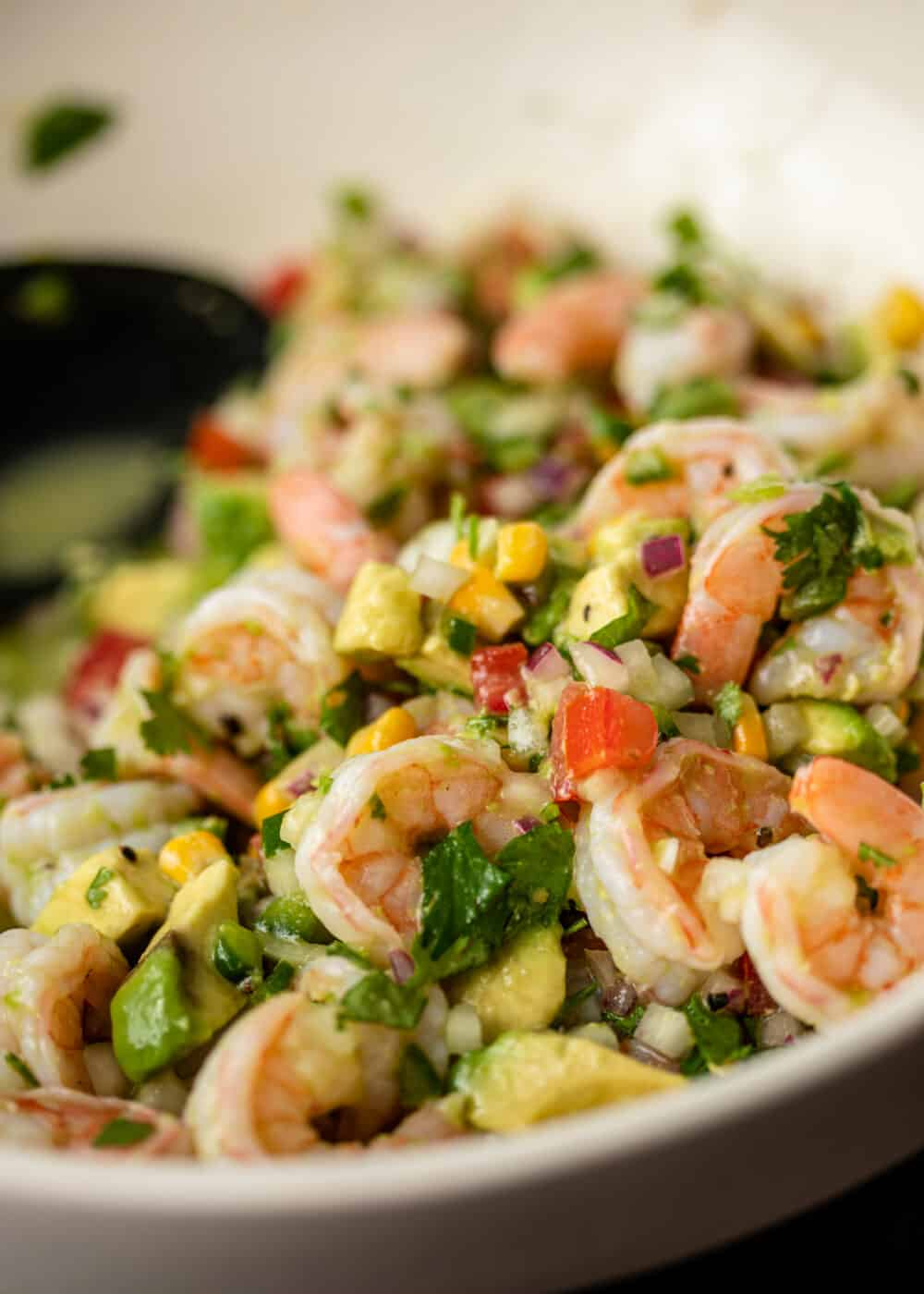 cold appetizer with shellfish, diced avocado, diced tomatoes and diced onions