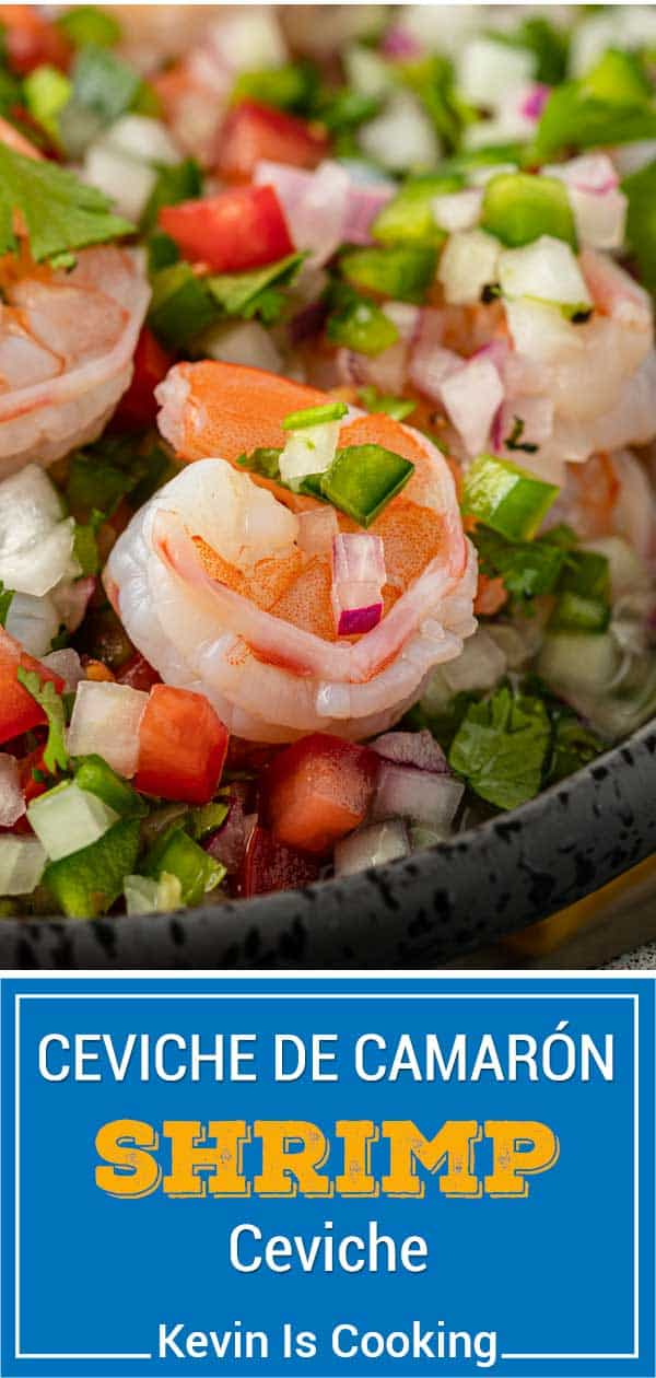 titled image for Pinterest shows close up of ceviche de camaron