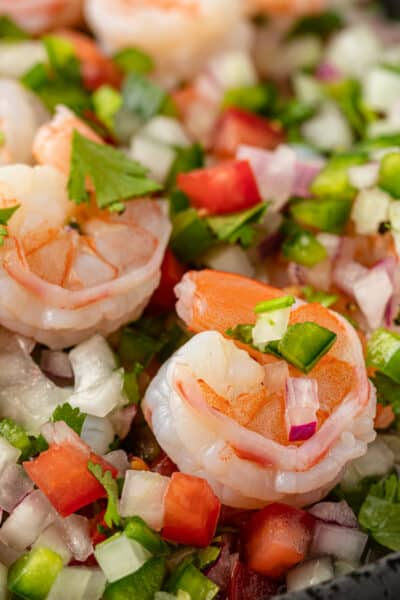 close up of Mexican ceviche with cooked shrimp