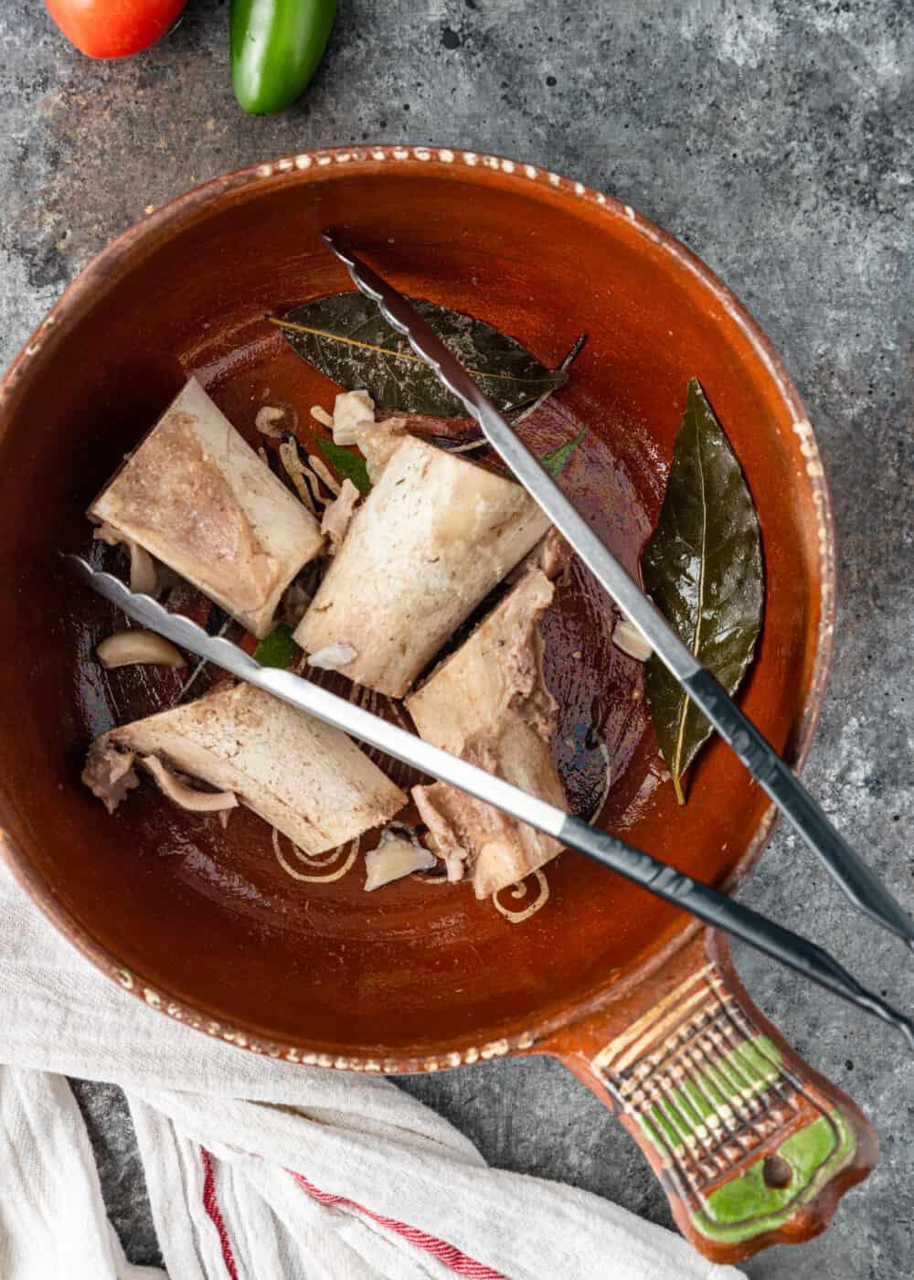 roasting beef bones in Dutch oven for Mexican vegetable beef soup