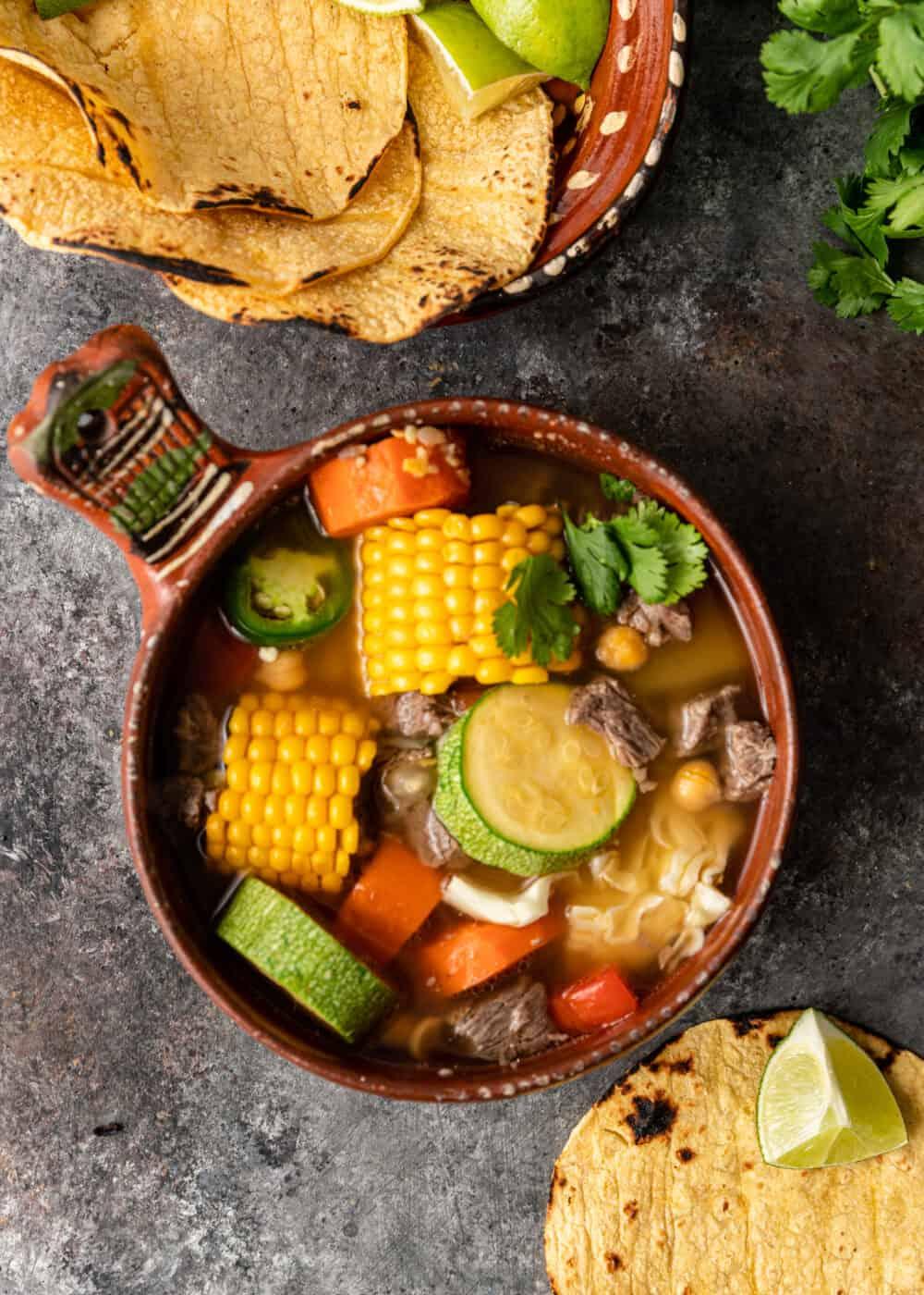 overhead: sopa de res in stoneware soup crock