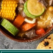 titled image shows Mexican beef soup in stoneware soup crock