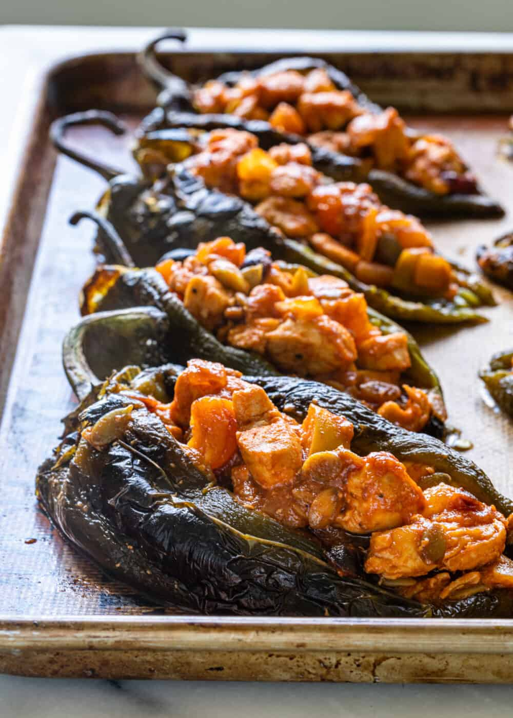 roasted chiles filled with chicken and vegetables