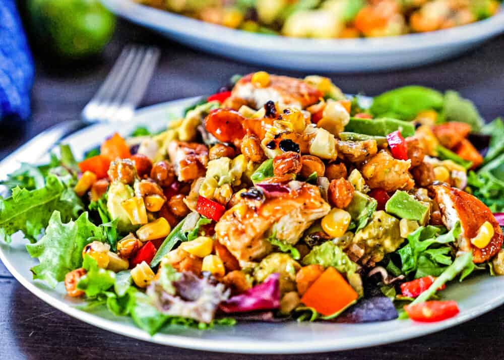 closeup of bbq chicken salad with honey lime dressing