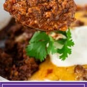 titled image: closeup of ground beef chili on spoon