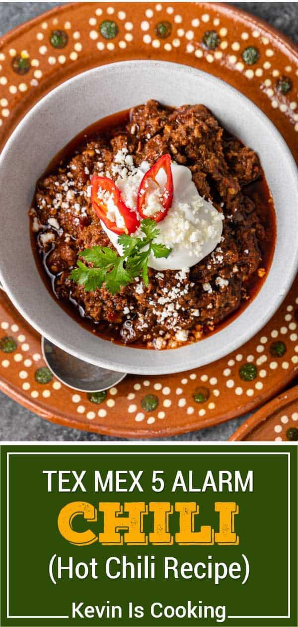 titled image (and shown): Tex Mex 5 Alarm Chili - Hot Chili Recipe