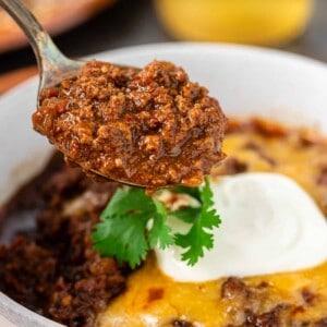 closeup: spoonful of 5 alarm chili