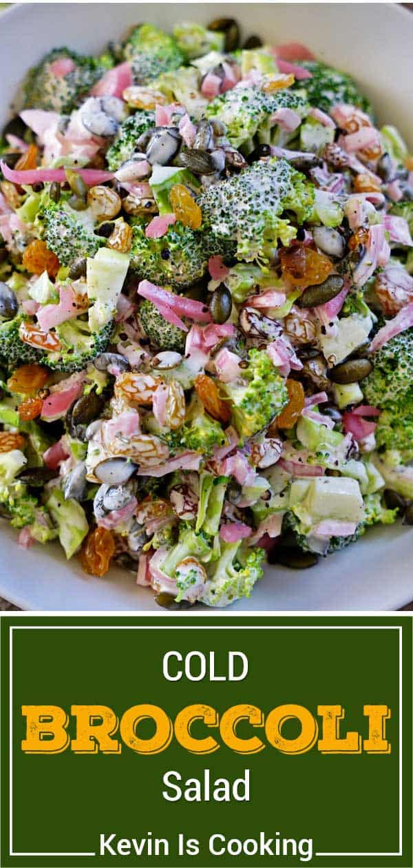 Overhead photo of cold broccoli salad with pumpkin seeds and golden raisins in tarragon dressing