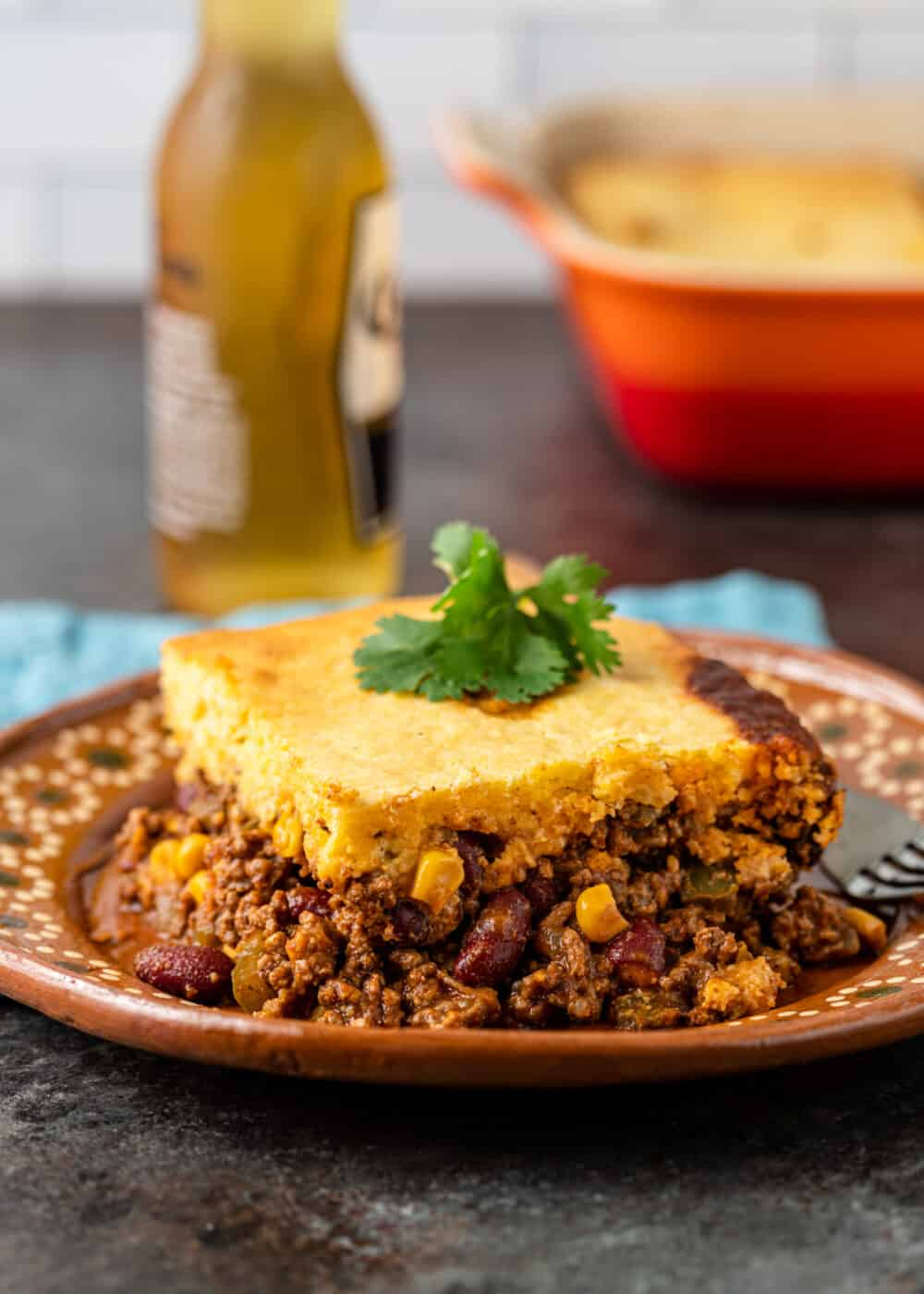 plated serving of baked cornbread casserole