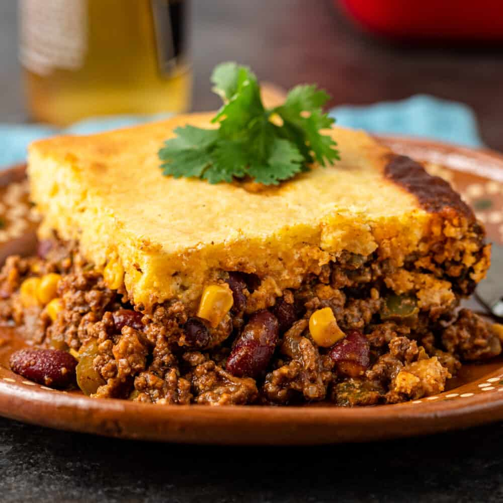 plated serving of tex mex tamale casserole