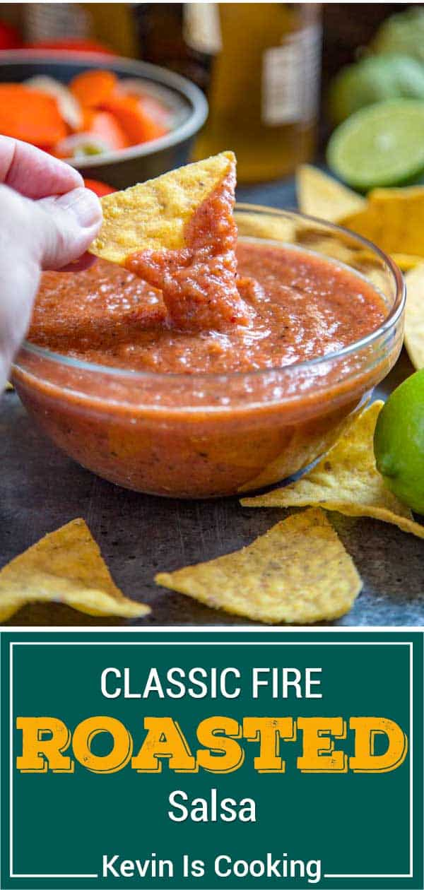 fire roasted salsa with chips, lime and marinated carrots